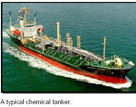 A typical chemical tanker at sea