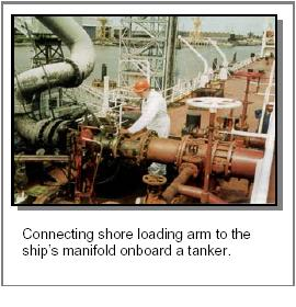 connecting loading arm at chemical tanker