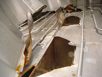 damage to chemical tank bottom