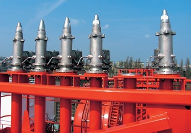 Pressure-vacuum valves on a chemical tanker
